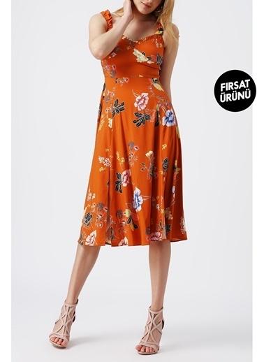 Random Kadın Kalın Askılı Kalp Yaka Desenli Midi Elbise Kahve